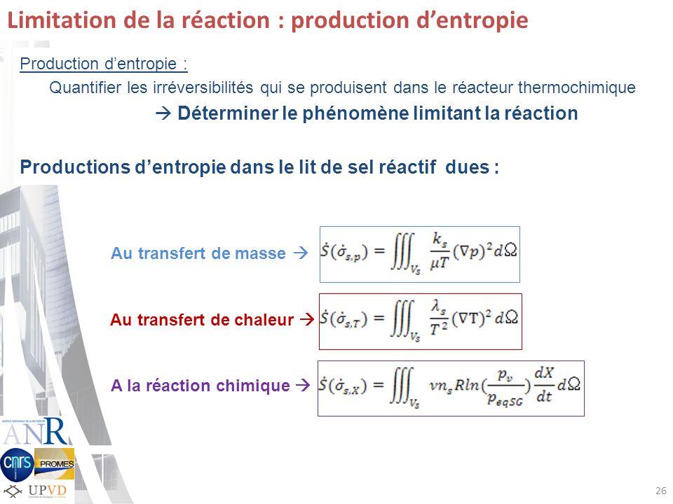 Limitation de la réaction : production d'entropie