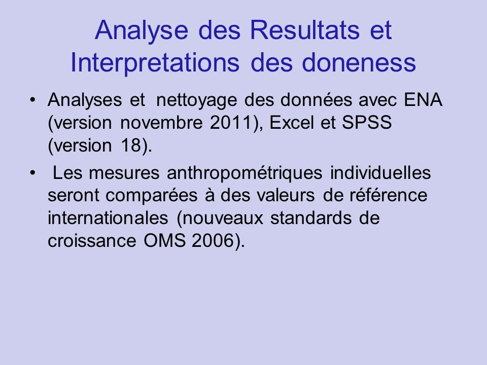 Analyse des Resultats et Interpretations des doneness