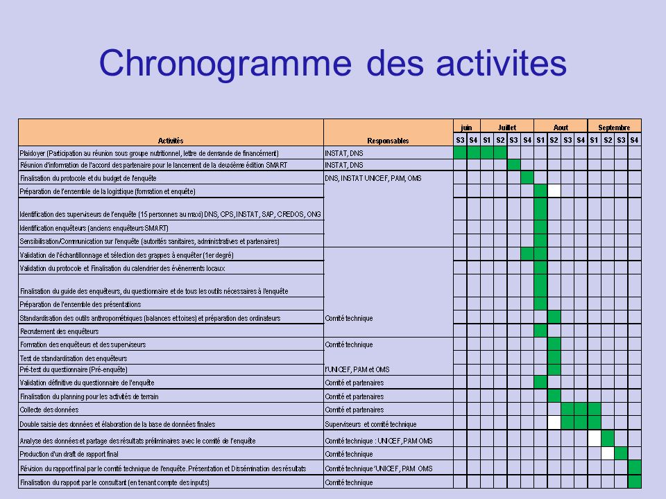 Chronogramme des activites