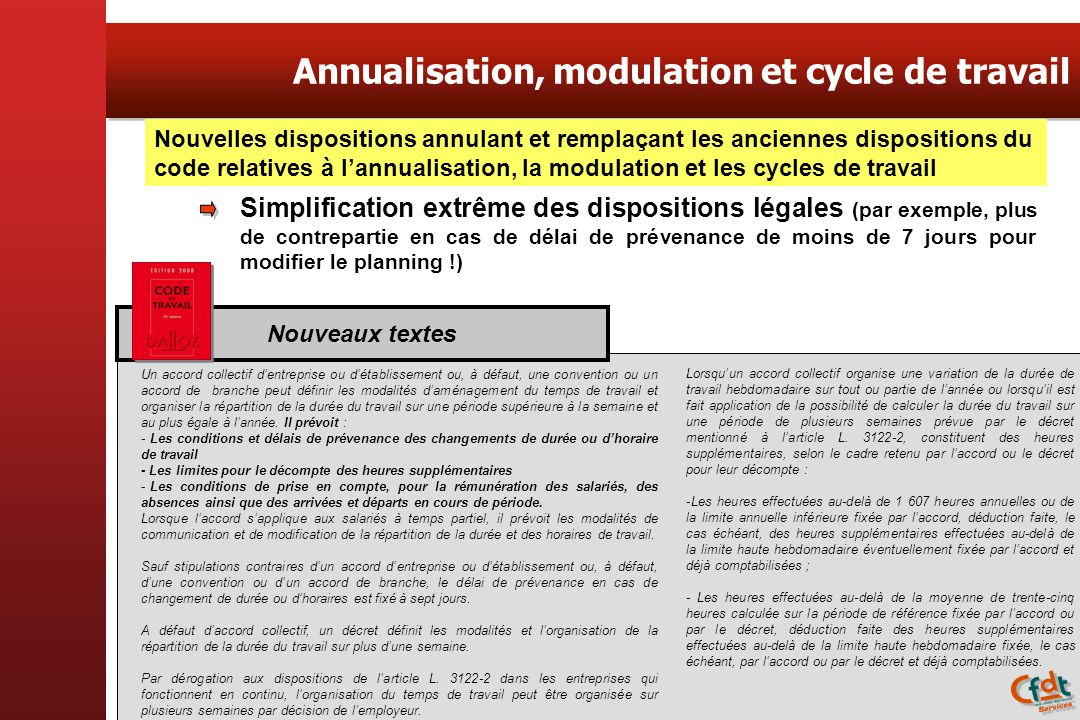 Annualisation, modulation et cycle de travail