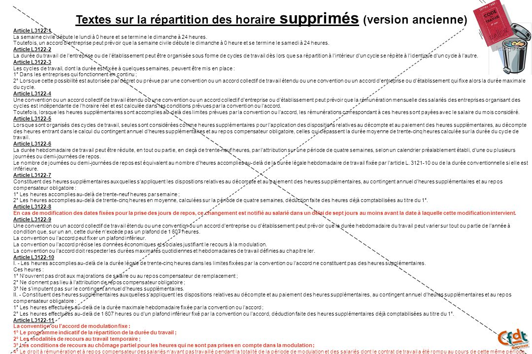 Textes sur la répartition des horaire supprimés (version ancienne)