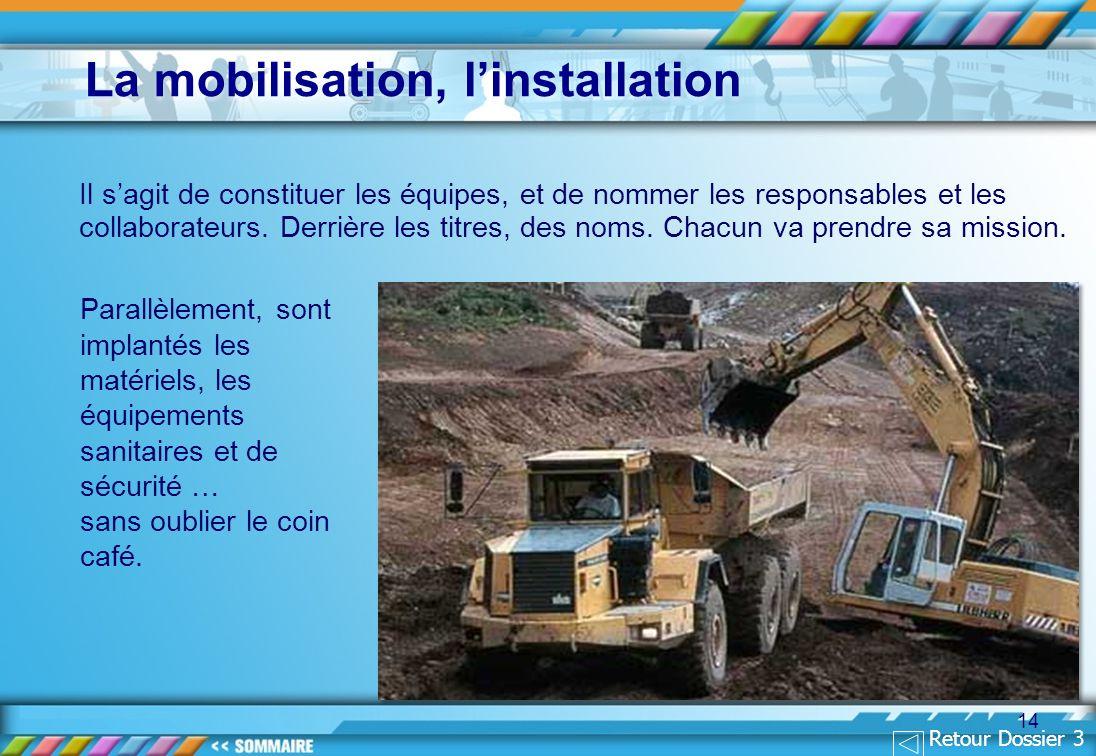 La mobilisation, l'installation
