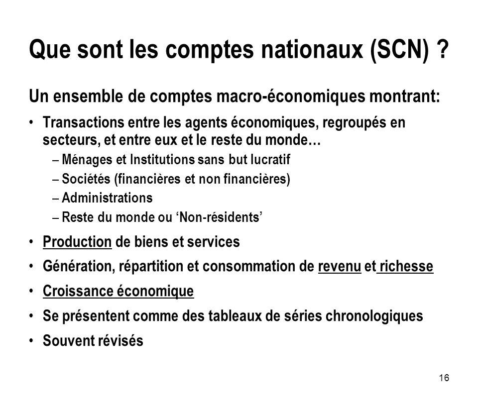 Que sont les comptes nationaux (SCN)