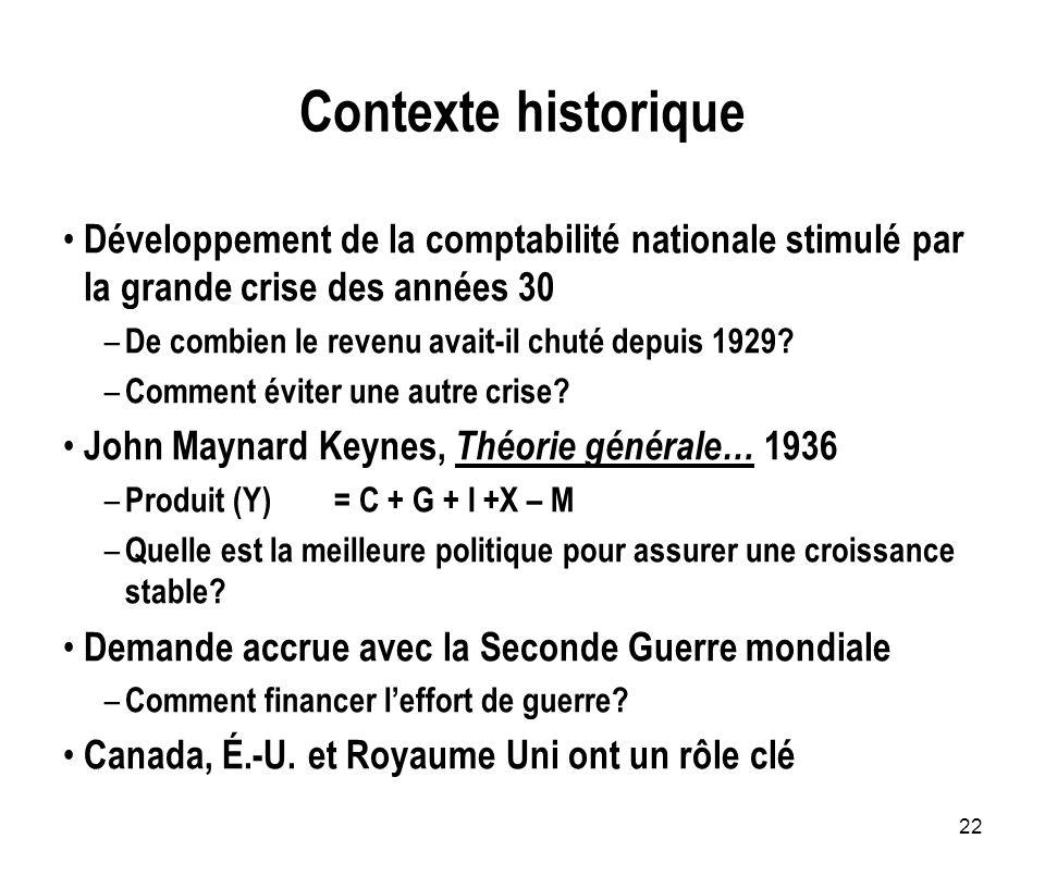 Contexte historique Développement de la comptabilité nationale stimulé par la grande crise des années 30.