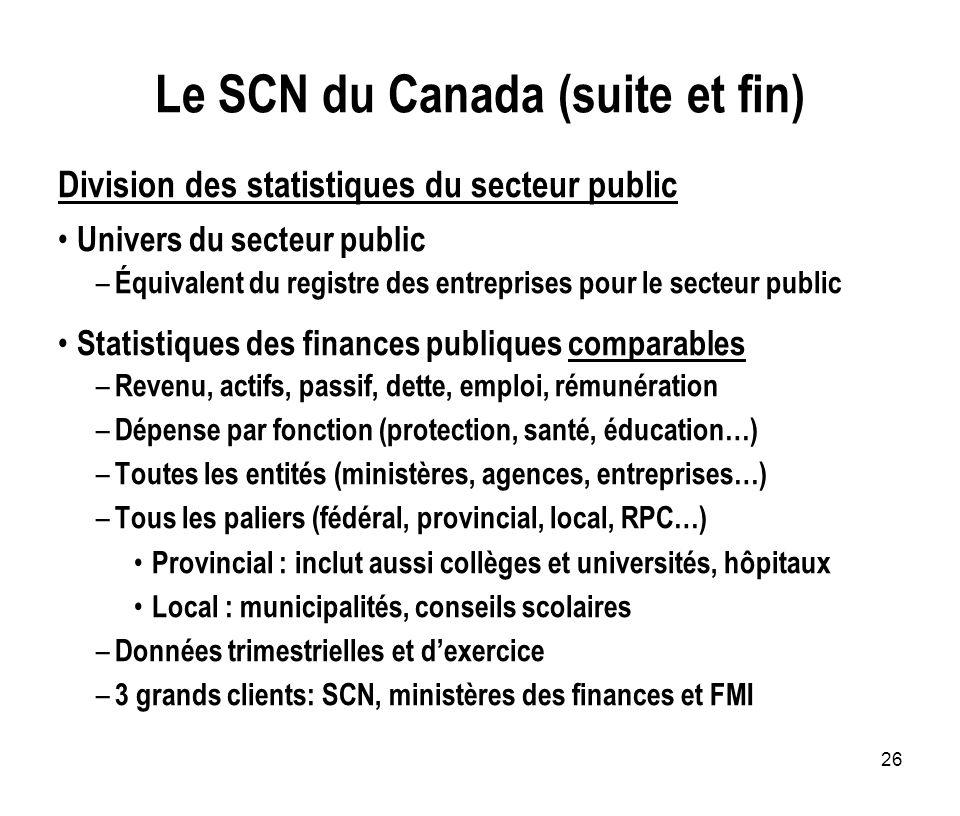 Le SCN du Canada (suite et fin)