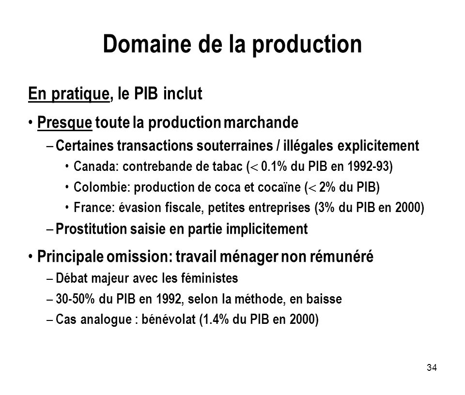 Domaine de la production