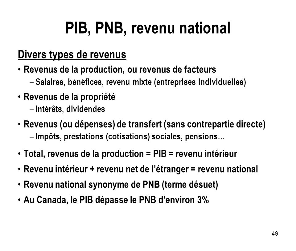 PIB, PNB, revenu national