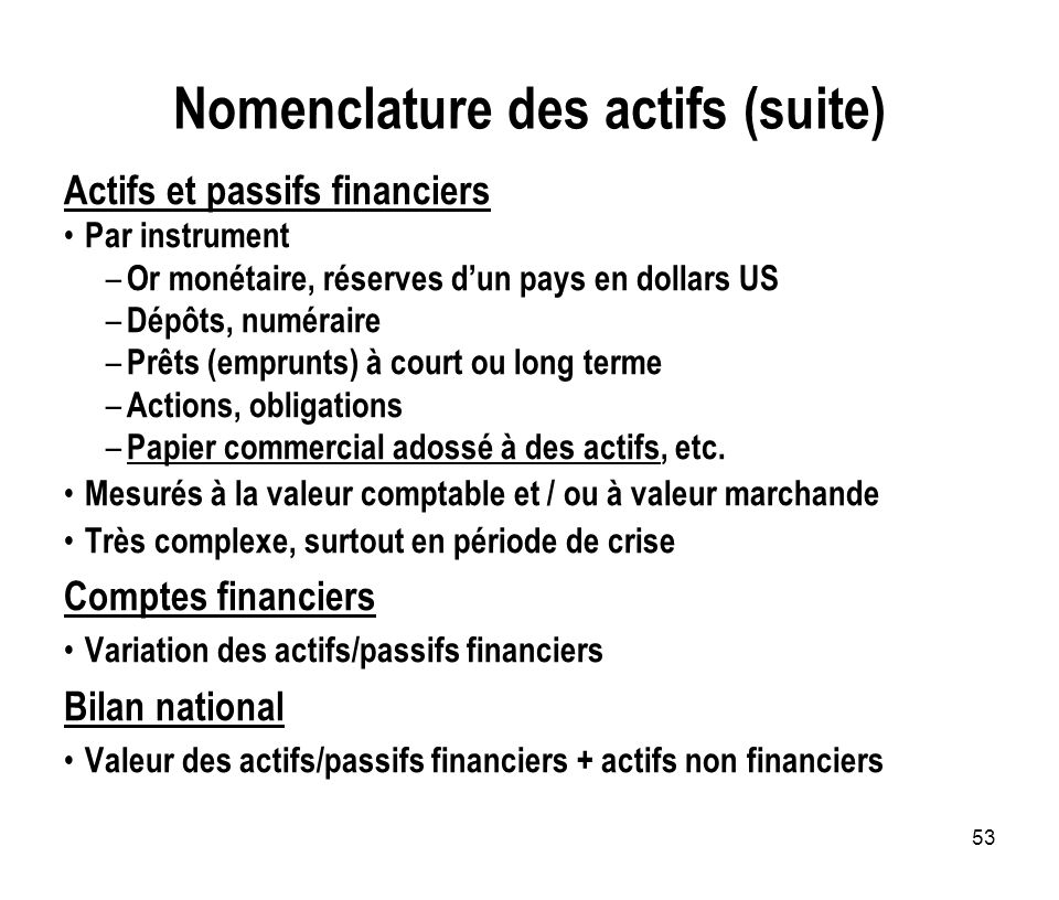 Nomenclature des actifs (suite)