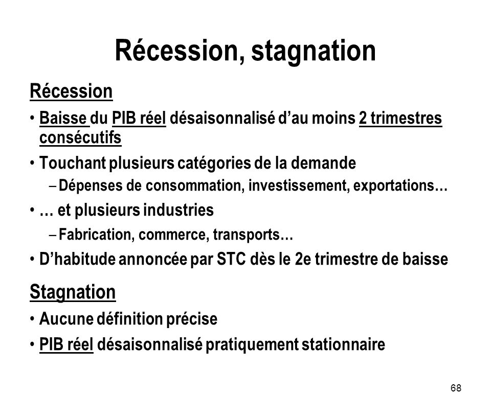 Récession, stagnation Récession Stagnation