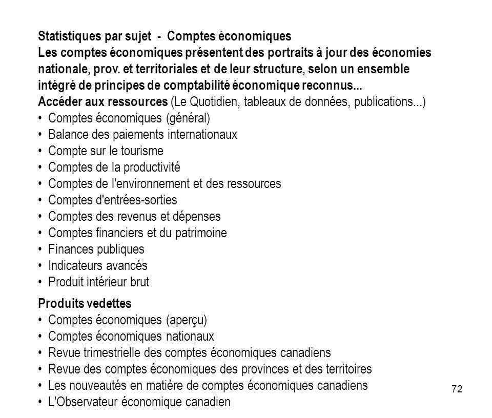 Statistiques par sujet - Comptes économiques