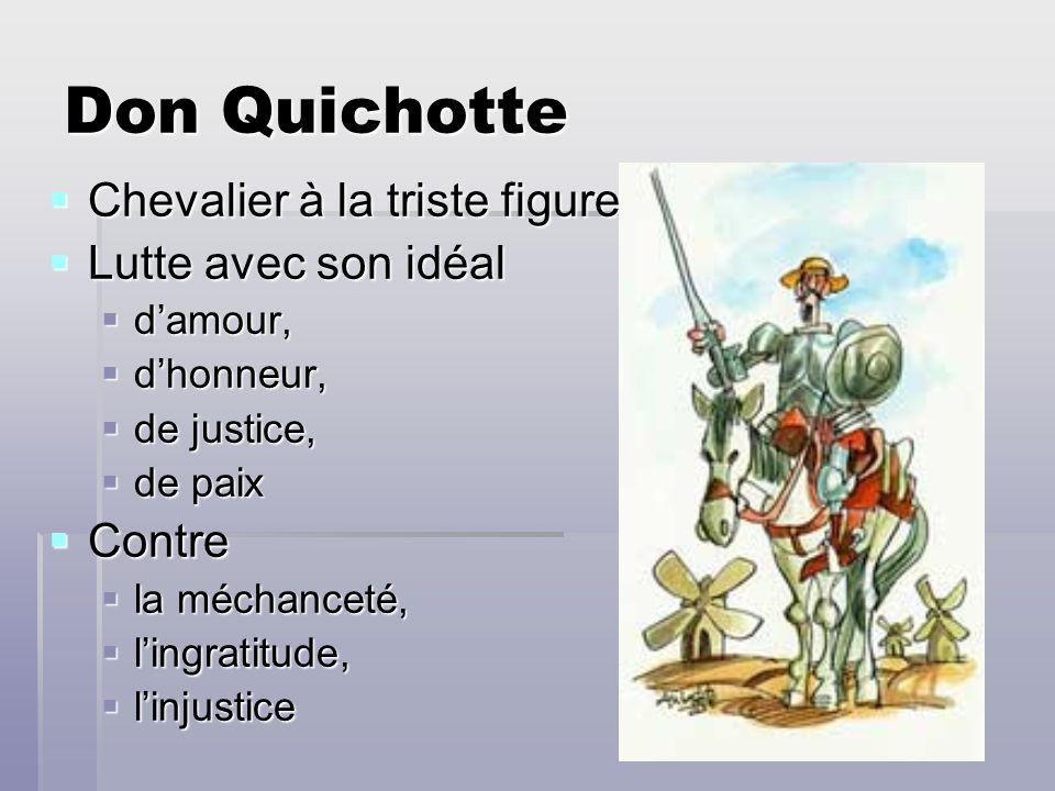 Don Quichotte Chevalier à la triste figure Lutte avec son idéal Contre