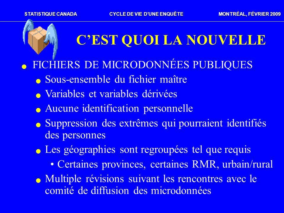C'EST QUOI LA NOUVELLE FICHIERS DE MICRODONNÉES PUBLIQUES