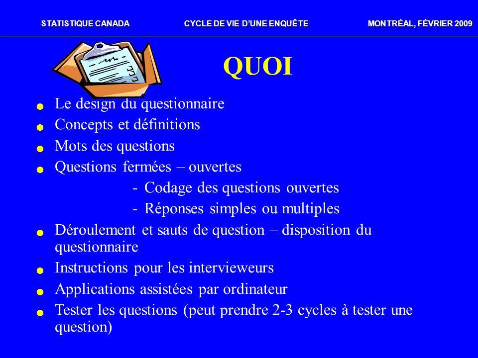 QUOI Le design du questionnaire Concepts et définitions