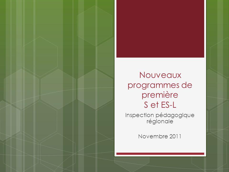 Nouveaux programmes de première S et ES-L
