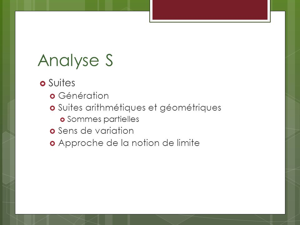 Analyse S Suites Génération Suites arithmétiques et géométriques