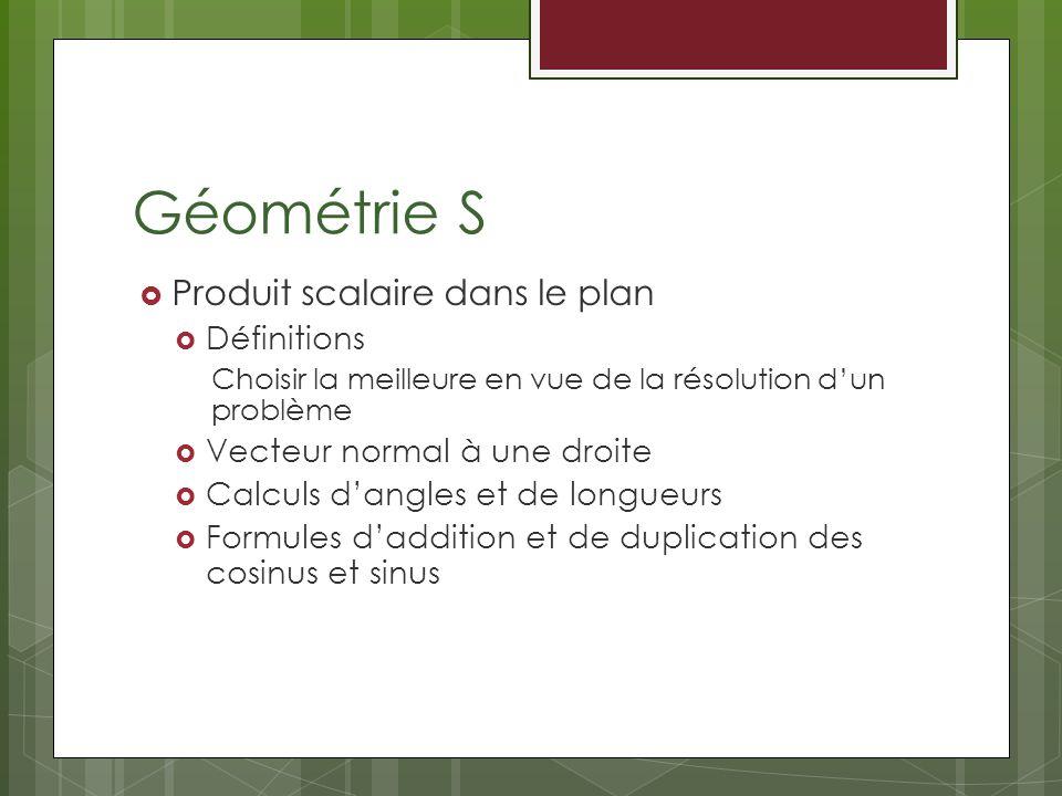 Géométrie S Produit scalaire dans le plan Définitions