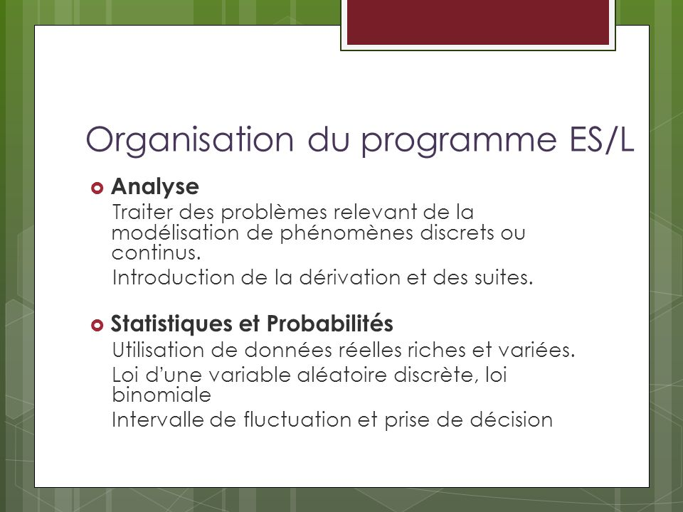 Organisation du programme ES/L