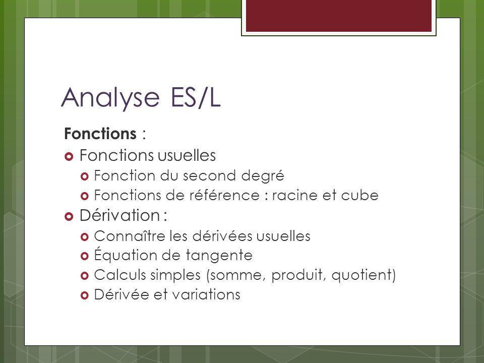 Analyse ES/L Fonctions : Fonctions usuelles Dérivation :