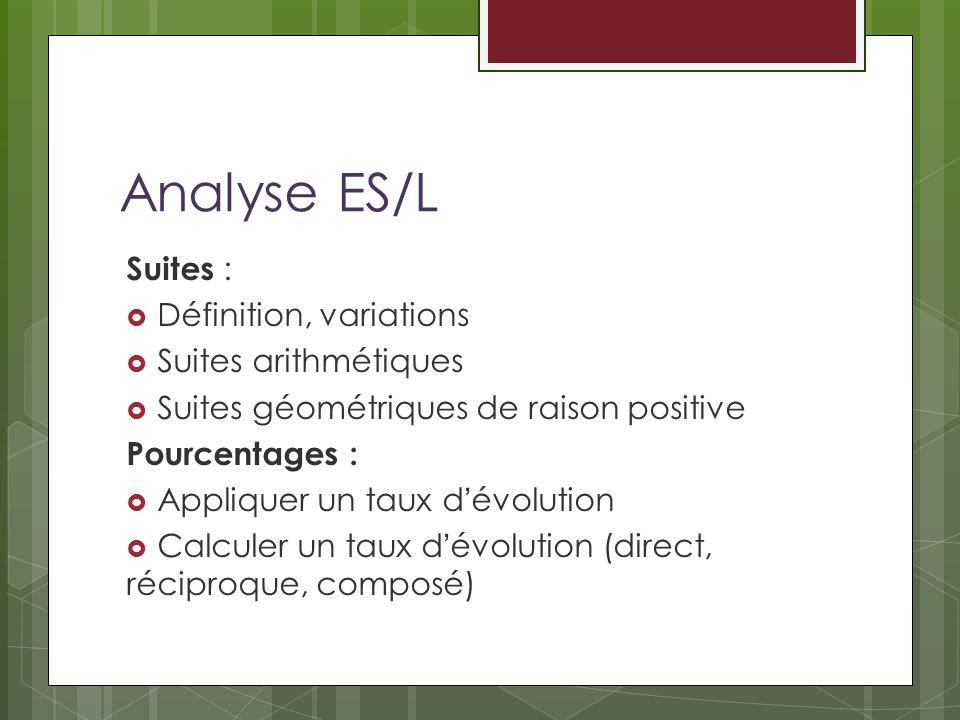 Analyse ES/L Suites : Définition, variations Suites arithmétiques