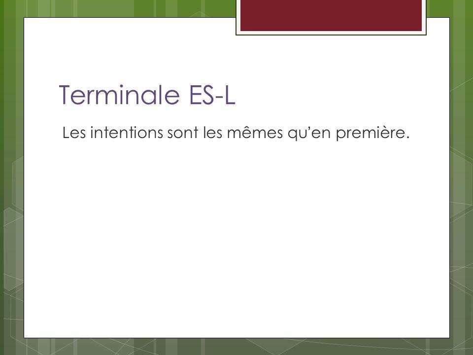 Terminale ES-L Les intentions sont les mêmes qu'en première.