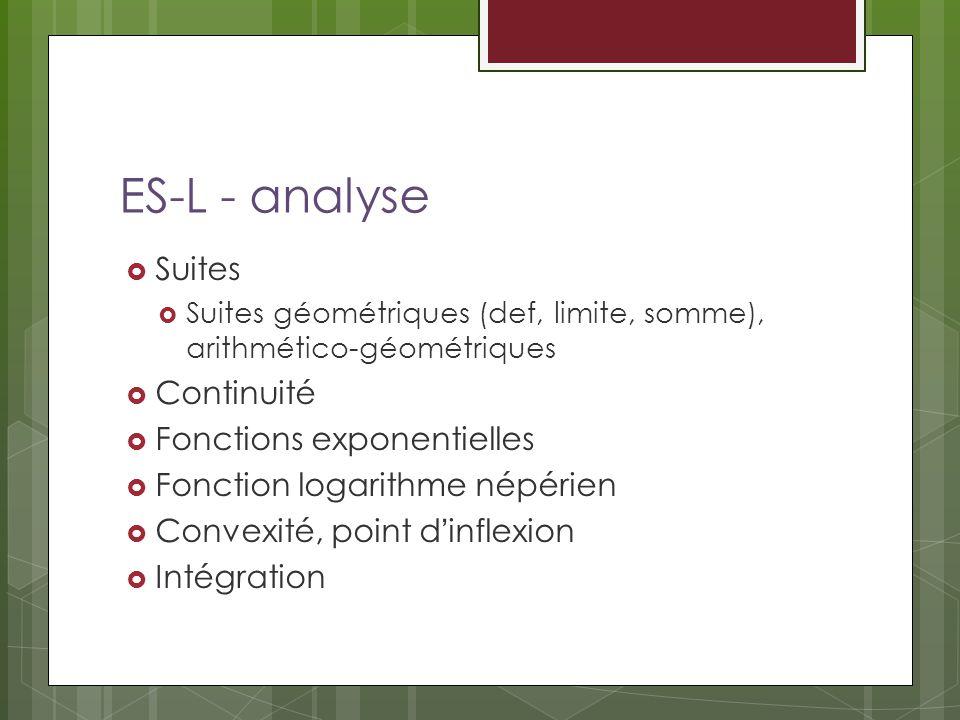 ES-L - analyse Suites Continuité Fonctions exponentielles