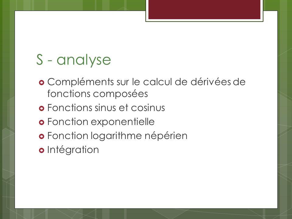 S - analyse Compléments sur le calcul de dérivées de fonctions composées. Fonctions sinus et cosinus.