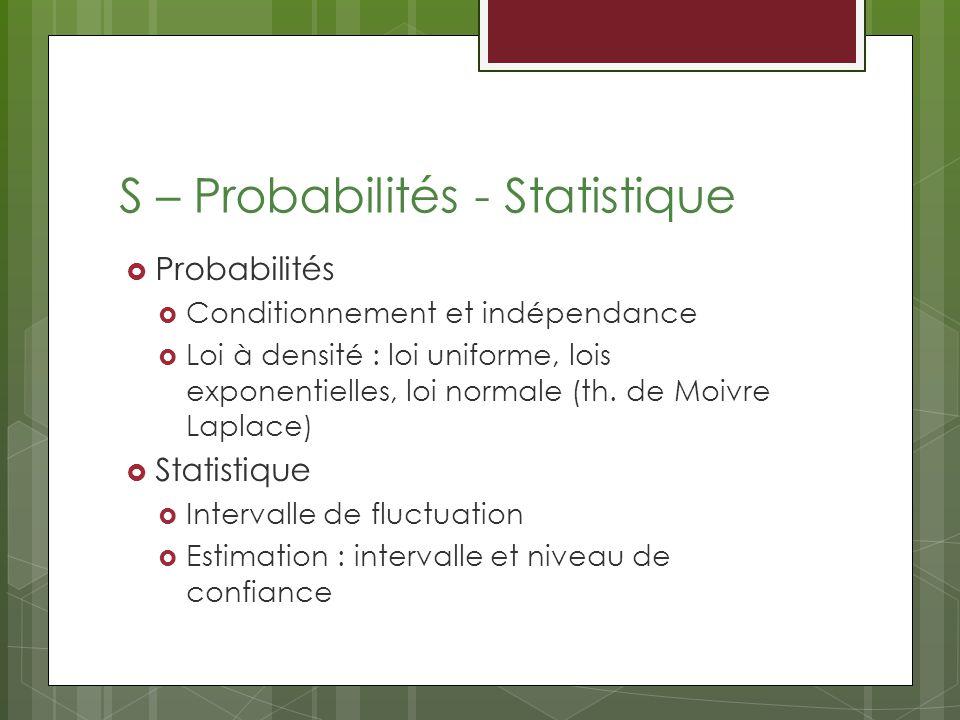 S – Probabilités - Statistique