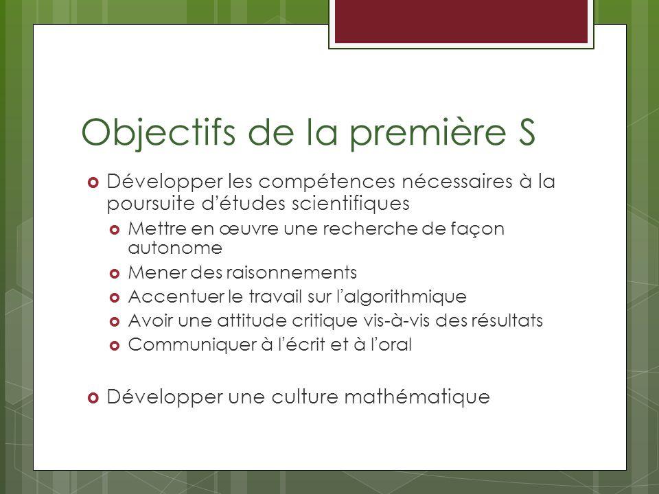 Objectifs de la première S