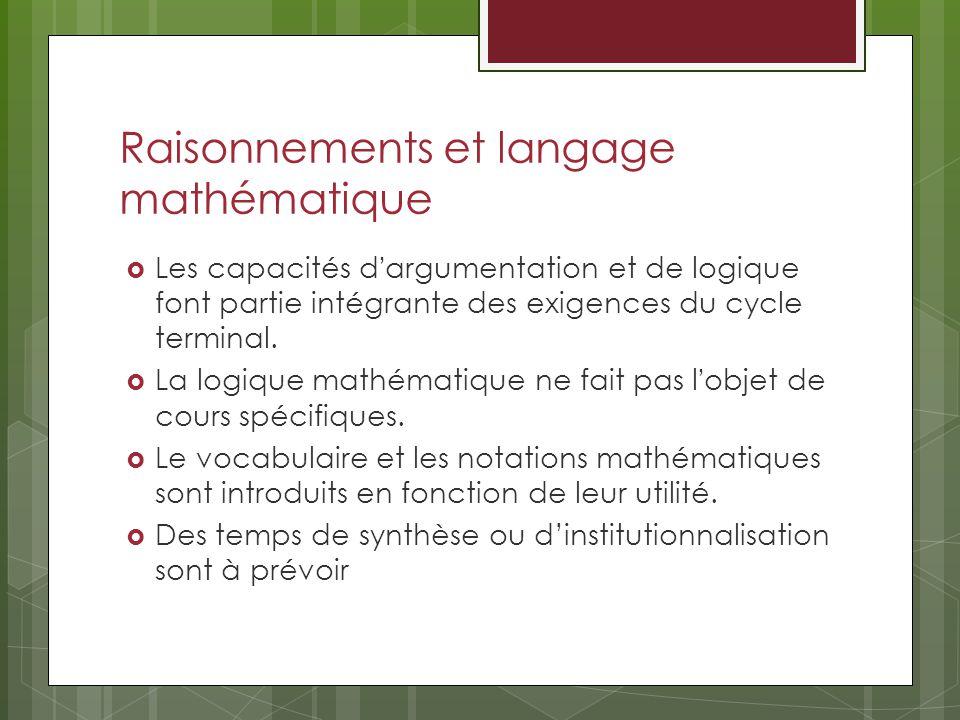 Raisonnements et langage mathématique