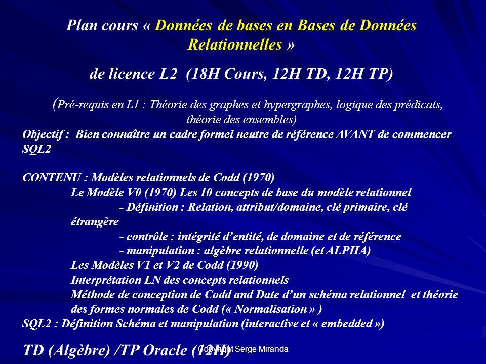Plan cours « Données de bases en Bases de Données Relationnelles »