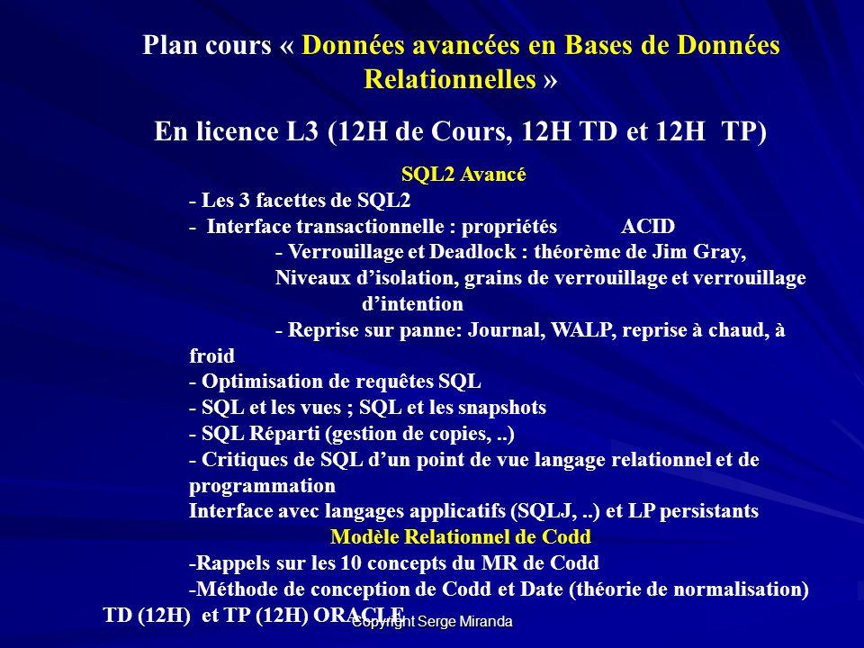 Plan cours « Données avancées en Bases de Données Relationnelles »
