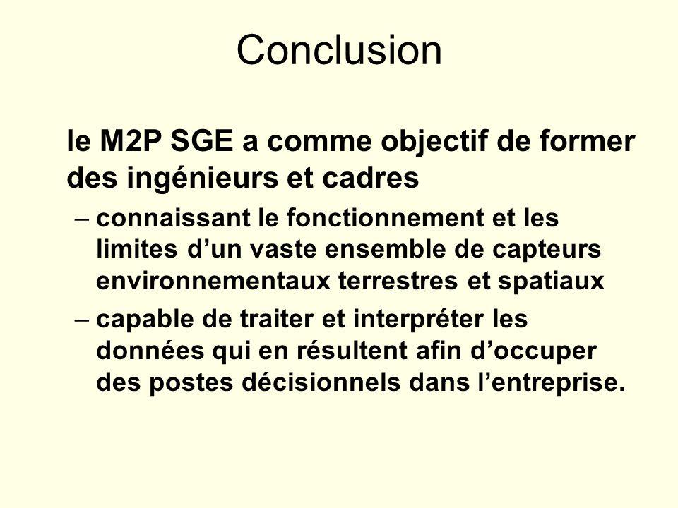 Conclusion le M2P SGE a comme objectif de former des ingénieurs et cadres.