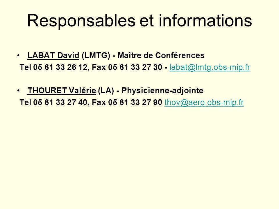 Responsables et informations
