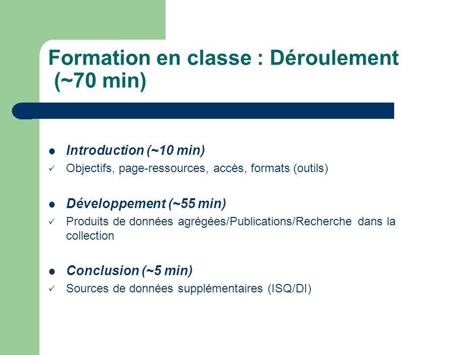 Formation en classe : Déroulement (~70 min)
