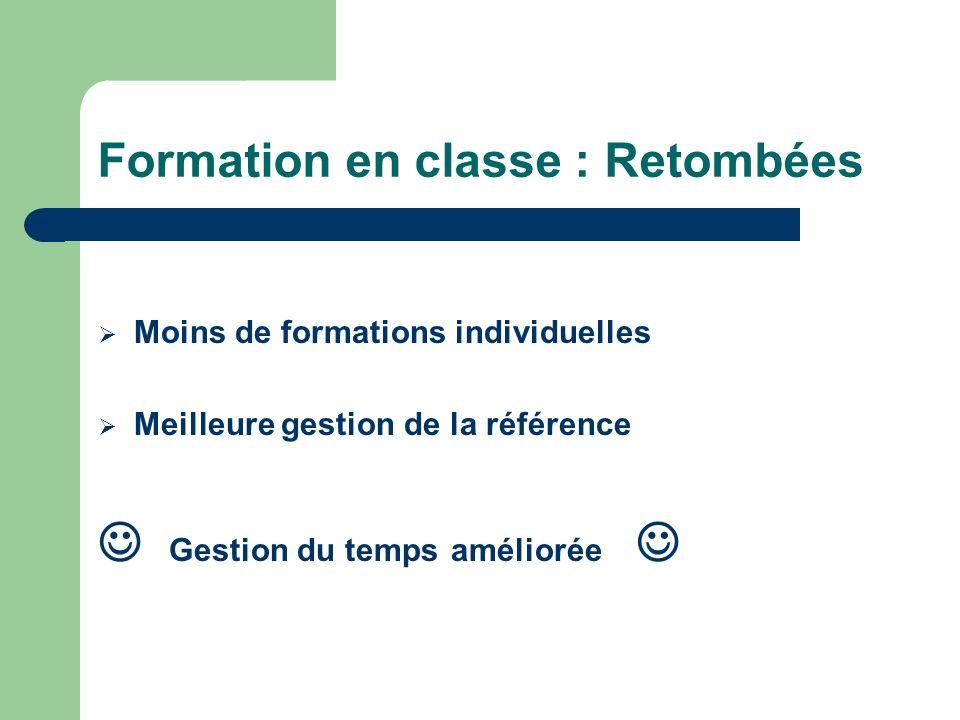 Formation en classe : Retombées