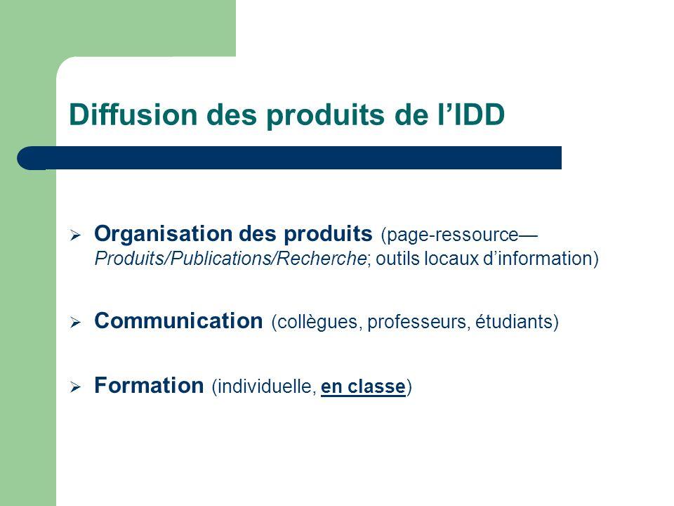 Diffusion des produits de l'IDD