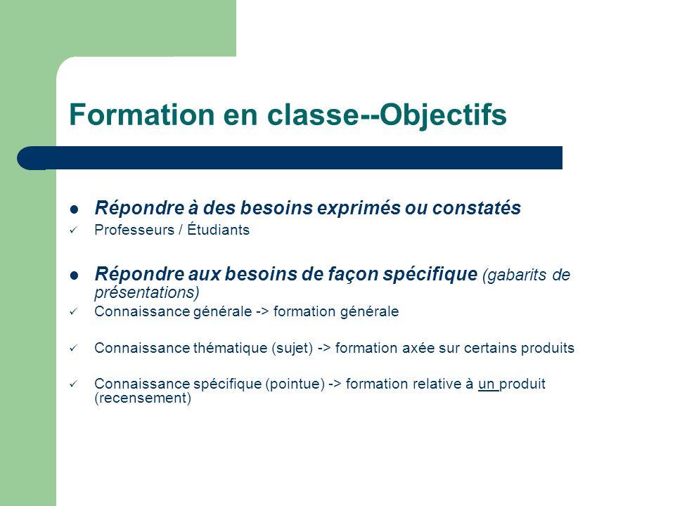 Formation en classe--Objectifs