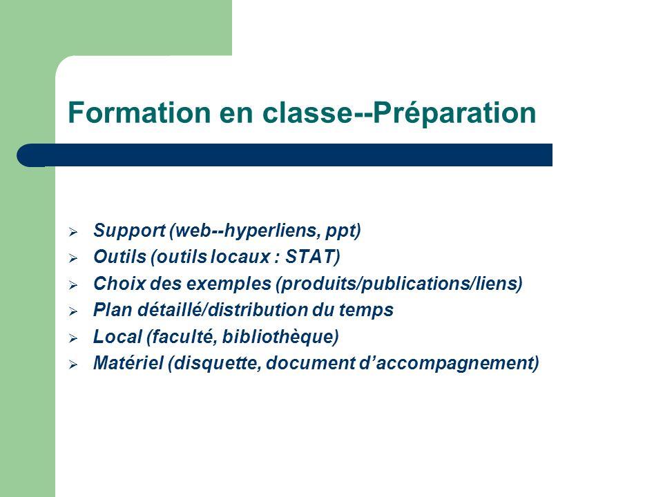 Formation en classe--Préparation