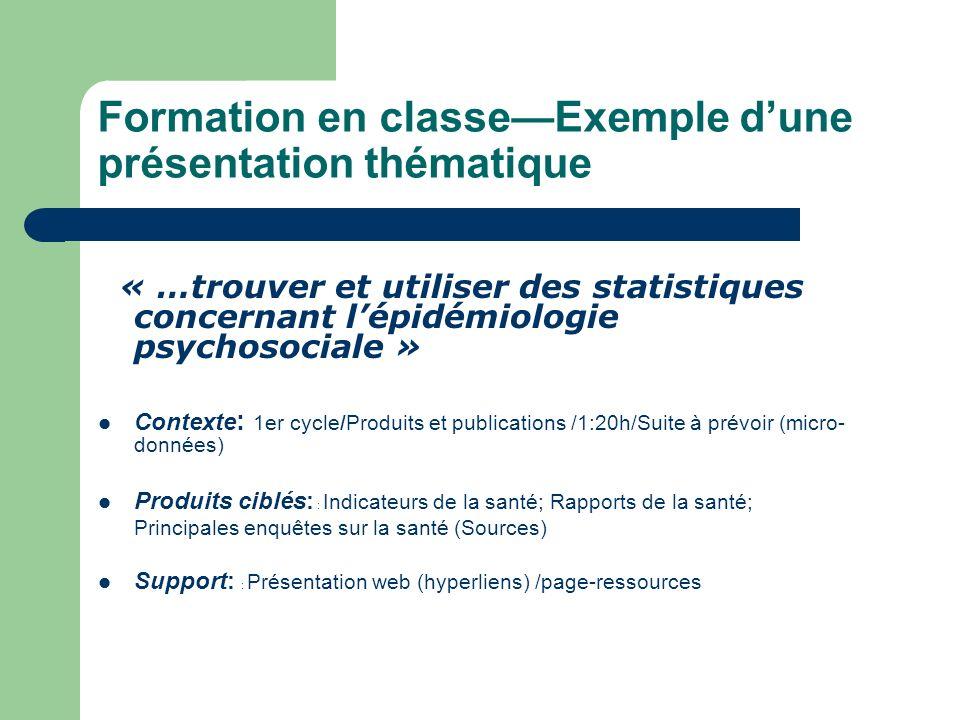 Formation en classe—Exemple d'une présentation thématique