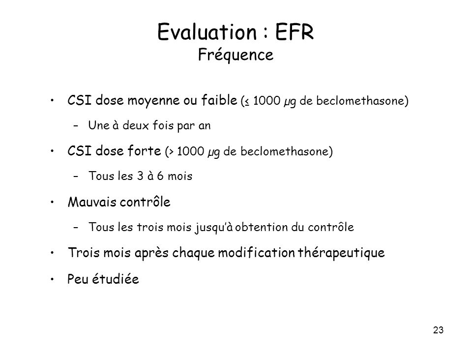 Evaluation : EFR Fréquence