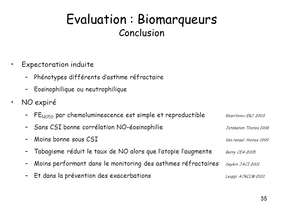 Evaluation : Biomarqueurs Conclusion