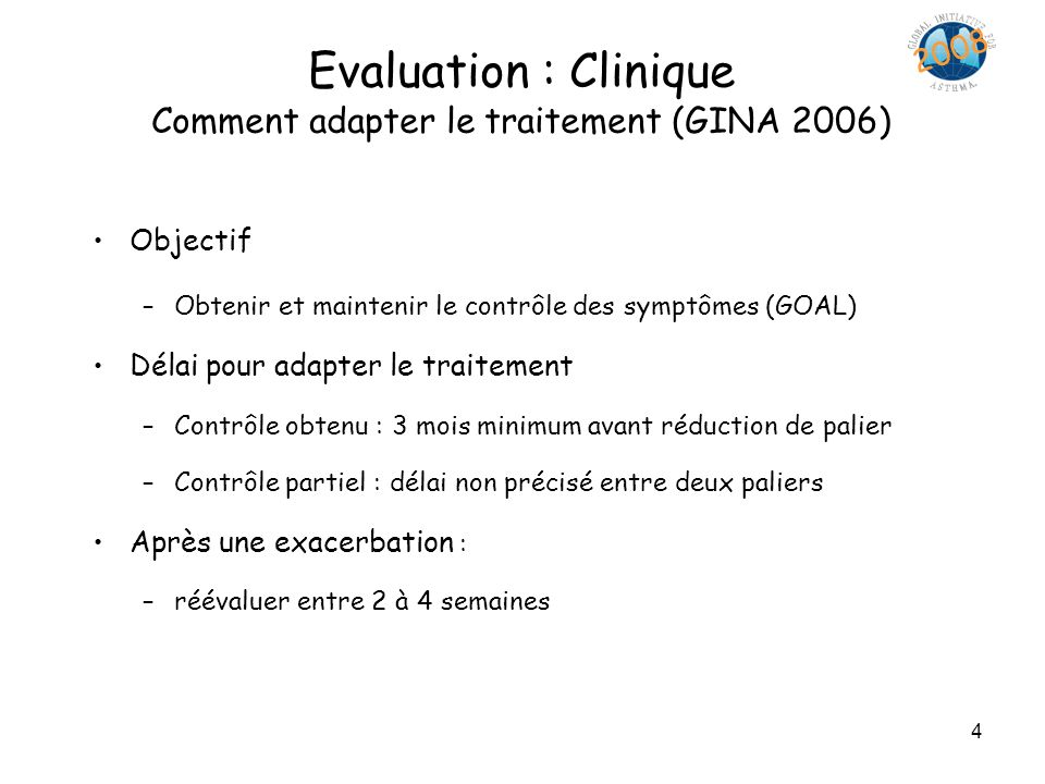 Evaluation : Clinique Comment adapter le traitement (GINA 2006)