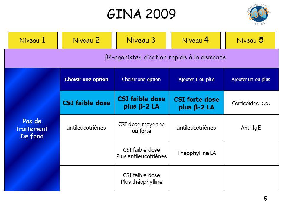 GINA 2009 2008 Niveau 3 Niveau 1 Niveau 2 Niveau 4 Niveau 5