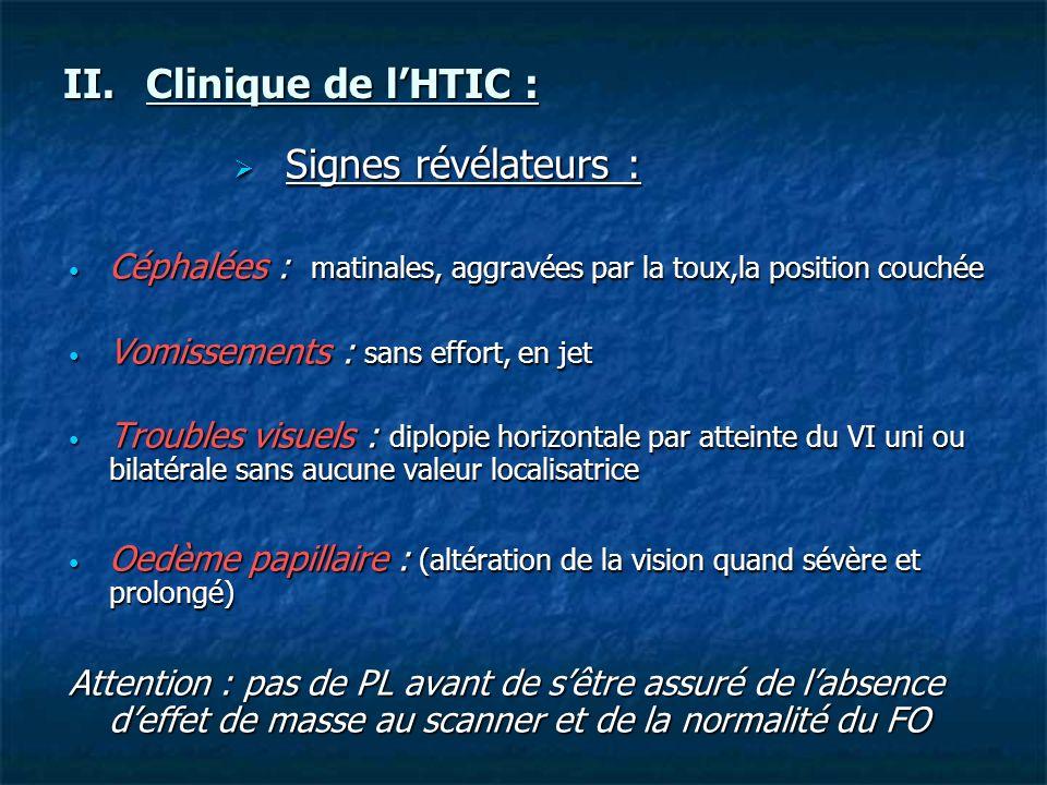 Clinique de l'HTIC : Signes révélateurs :