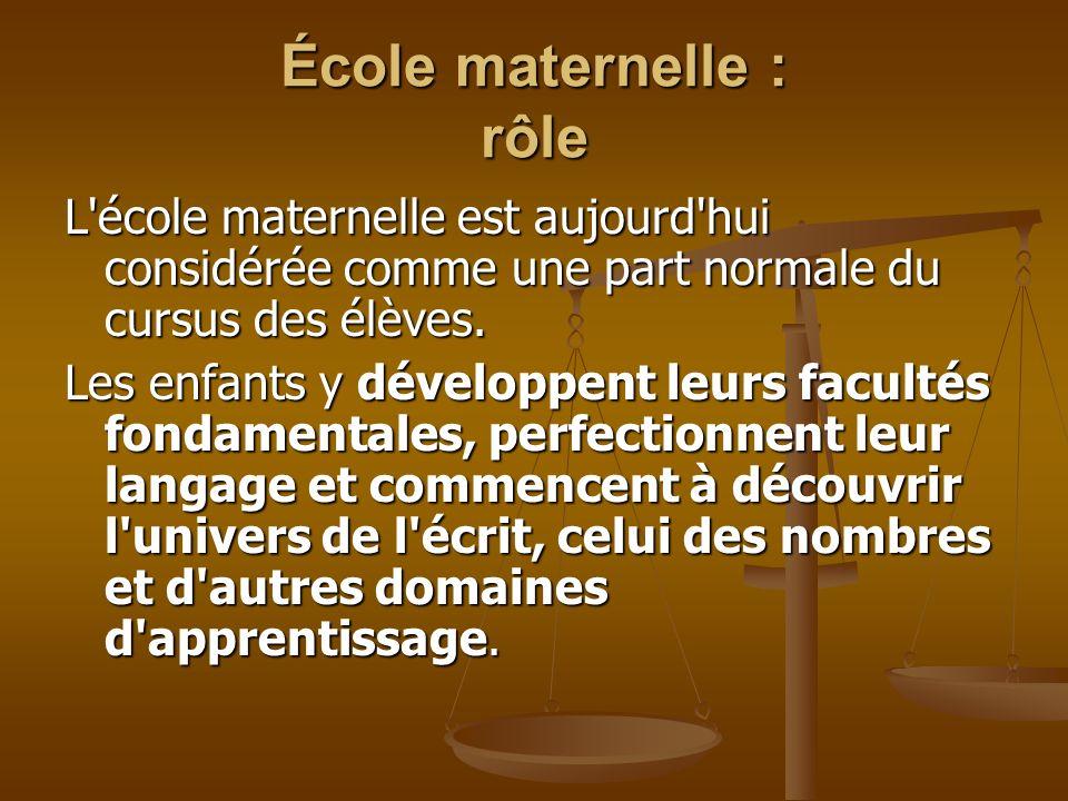 École maternelle : rôle