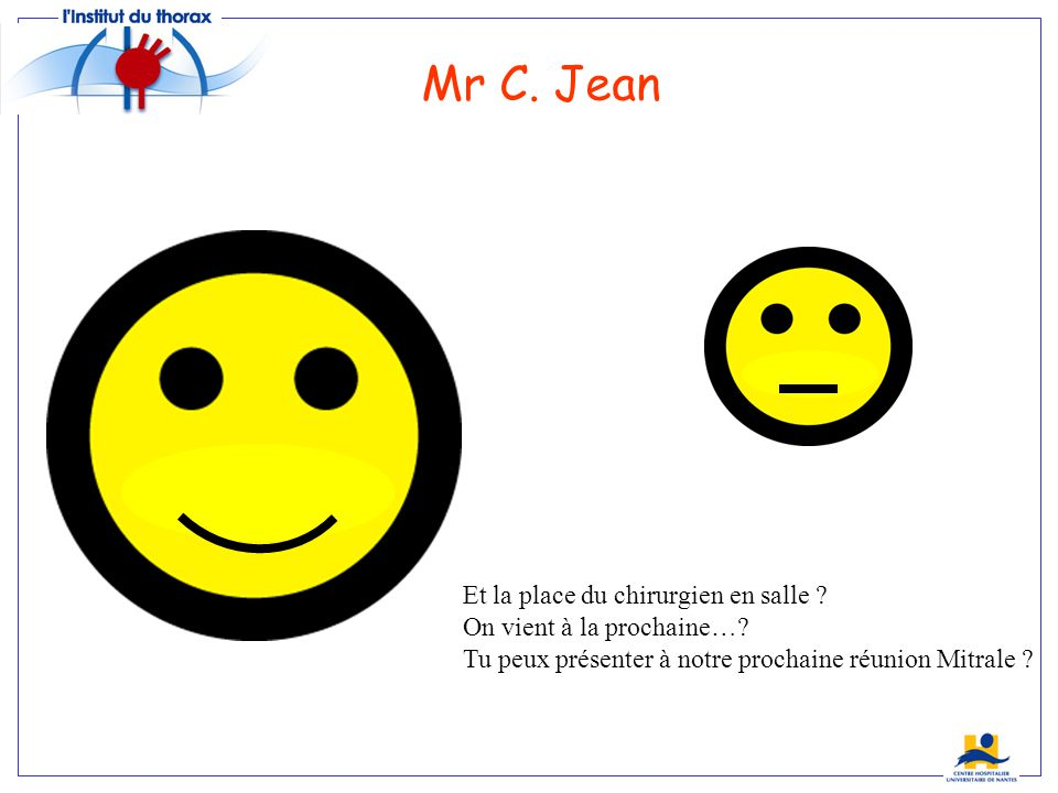 Mr C. Jean Et la place du chirurgien en salle