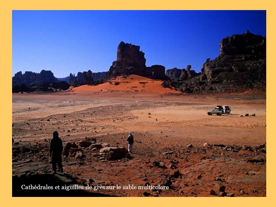 Cathédrales et aiguilles de grès sur le sable multicolore