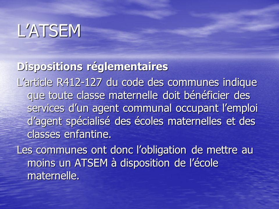 L'ATSEM Dispositions réglementaires