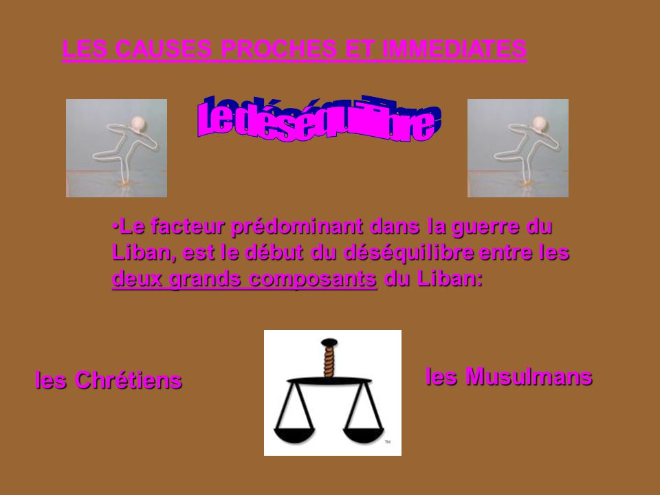 Le déséquilibre LES CAUSES PROCHES ET IMMEDIATES les Musulmans
