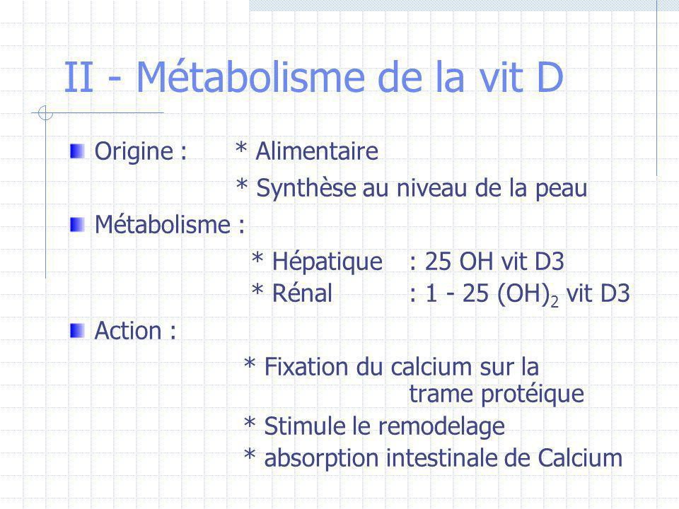 II - Métabolisme de la vit D